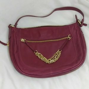 Red wine Halogen shoulder leather bag